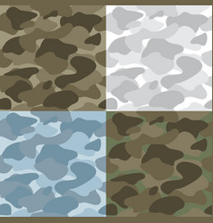 Military soldier camouflage seamless patterns set vector