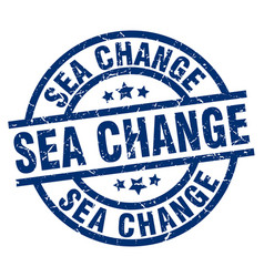 Sea change blue round grunge stamp vector