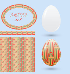 set of easter design elements eggs seamless vector image vector image