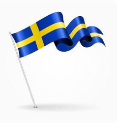 Swedish pin wavy flag vector