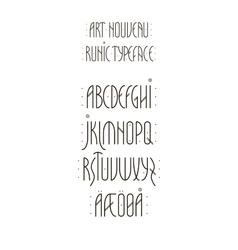 Runic art nouveau alphabet vector