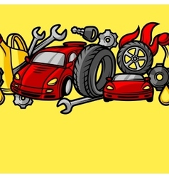 Car repair seamless pattern with service objects vector