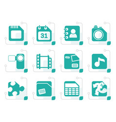 stylized mobile phone computer and internet icons vector image