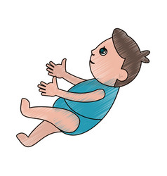 Drawing baby son newborn vector