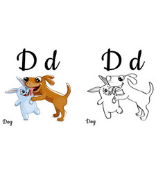 Dog alphabet letter d coloring page vector