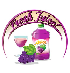 A fresh juice label with grapes vector