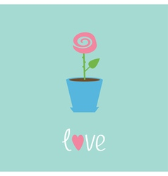 Rose in pot Love card vector image
