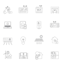 Smart home icons outline vector image