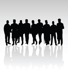 Man in group silhouette black color vector