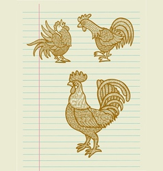 Vintage decorative rooster sketches vector