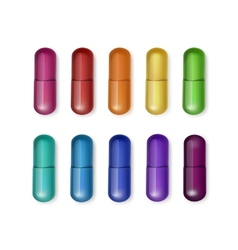 Set of multicolored capsules isolated vector