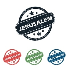 Round jerusalem city stamp set vector