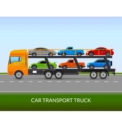 Car transport truck vector