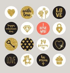 Valentines holiday set glitter gold design vector