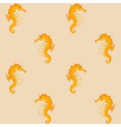 Seahorses yellow seamless background vector
