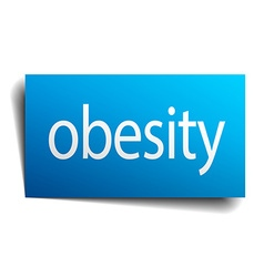Obesity blue paper sign on white background vector