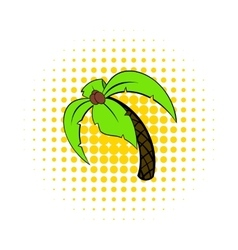 Palm tree icon pop-art style vector