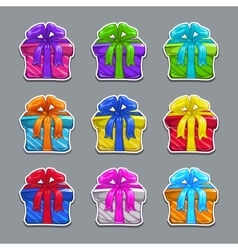 Funny cartoon colorful gift boxes set vector