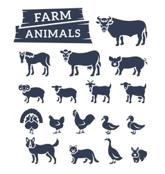 Domestic farm animals flat silhouettes vector