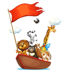 Animals and boat vector image vector image