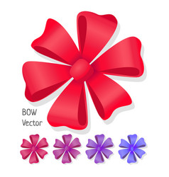 Bow set luxury flower made from ribbons vector