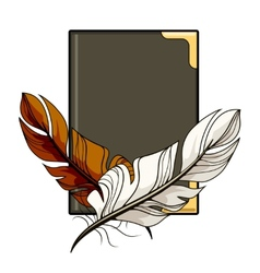 Brown and white feathers on a book vector