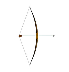 Brown bow and arrow vector