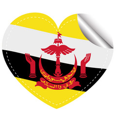 Brunei flag on heart shape sticker vector