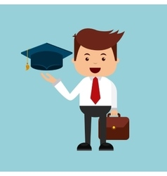 Businessman with graduation hat icon vector