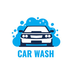 car wash logo on light background clean car in vector image