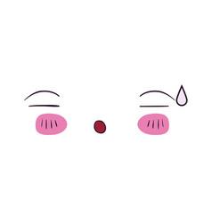 Colorful facial expression asleep kawaii vector