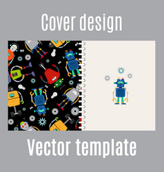 Cover design with robots pattern vector