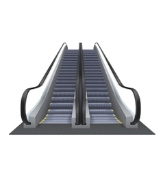 Double realistic escalator isolated on the vector image