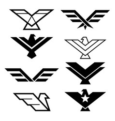 Eagle geometric design wings icons vector