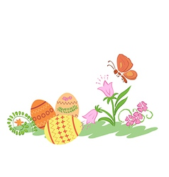 easter eggs with flowers and butterfly vector image