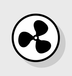Fan sign flat black icon in white circle vector