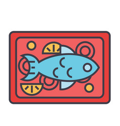 Fish restaurant dish concept line icon vector