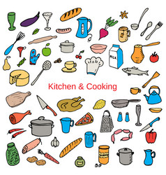 Food and kitchen color hand drawn icons set vector
