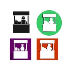 Food kiosk icon vector