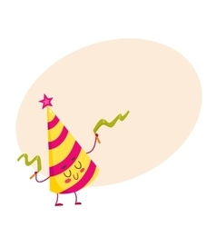 Funny birthday hat character with a smiling face vector