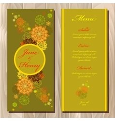 Golden snowflakes design wedding menu card vector