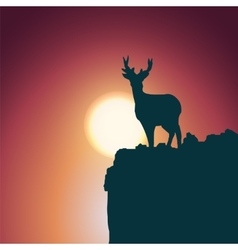 Landscape background deer standing on a hill vector