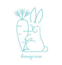 long haired rabbit holding carrot in paw side view vector image
