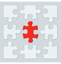 Nine puzzle pieces vector image vector image