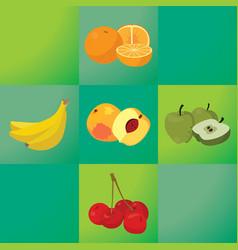 oranges bananas peaches apples cherries - vector image
