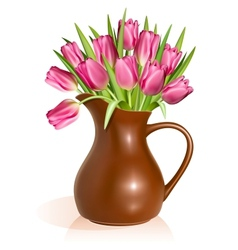 Pink tulips in clay pitcher vector