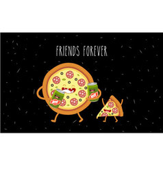 pizza slice and beer vector image vector image