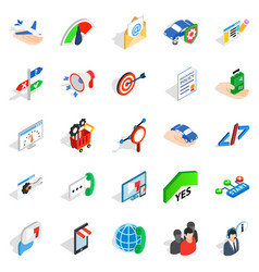 Profession icons set isometric style vector