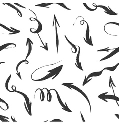Seamless hand drawn monochrome arrows pattern vector