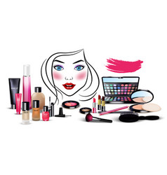 Set of cosmetics with beautiful woman face vector